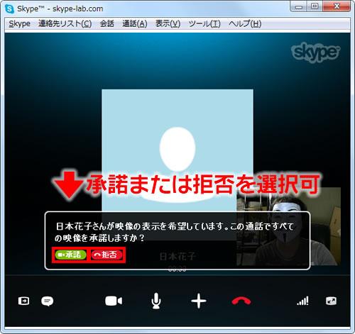 ビデオ通話開始時に映像の承諾が表示される